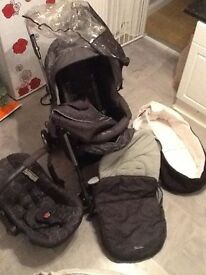 Silver Cross 3D pram travel system with car seat 3 in 1 Grey Charcoal