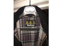 Beautiful Bristol Men's Barbour Jacket Black Medium w/detachable button hood