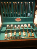 Silver-plated flatware set.