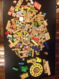 Large lot of wooden toys