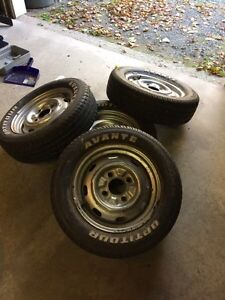 Classic VW Beetle rims with brand new tires.