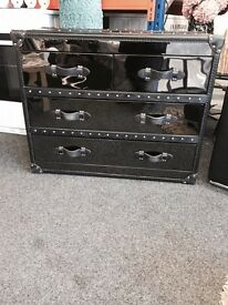 Aviator gun metal and leather drawers from sterling Tillicoultry £225