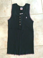 Volcom Black and Pink Tank with Buttons - Women's Size Small