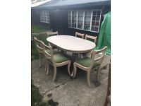 Limed Solid Oak Dining Table and 6 Chairs
