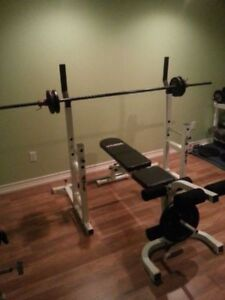 Squat Rack w Safety Spotters + Bench + Leg Ext. + Weights + Bar