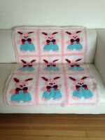 Vintage large baby blanket handmade Very cute