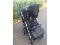 HAUCK EXDISPLAY SPIRIT BUGGY PUSHCHAIR PRAM IN BLACK SILVER FROM BIRTH LARGE HOOD and cosytoes