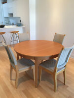 Dining room set - Extendable table and 4 chairs