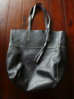 Roots Black Leather French Tote just $75!  Interior zippered poc