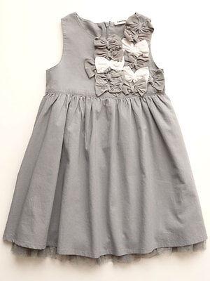 3 Pommes Little Girls Grey  Summer Dress 4, 5, 6 Dressy Cott