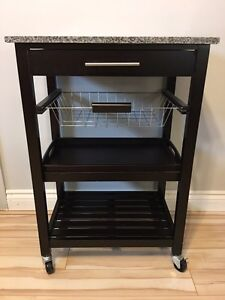 Granite top kitchen cart island with wheels EXCELLENT con $60