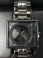"""FLUD """"THE TABLE TURNS"""" TURNTABLE WATCH - BLACK/GUNMETAL - NEW"""