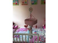 Baby girls musical cot mobile