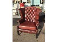 Oxblood Chesterfield Queen Anne Armchair