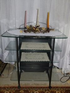 METAL FOUR-STORY GLASS SHELVES TV TABLE STAND