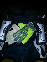 Gants de gardien soccer, jambières, shorts, bas