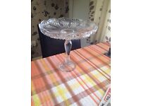 "Large heavy tall glass cake stand 12"" tall 13"" across"