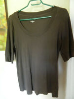Reitmans Womens Dark Brown Top Size XL Stretch Round Neckline...