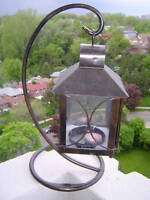 Iron & Glass Enclosed Candle Holder