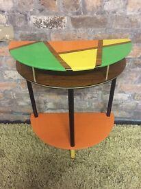 Trendy retro hand painted half-moon table