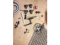 Job lot of bike parts shimano shifters, fsa headset, truvativ crank