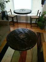 Cable Spool Bar and Coffee Table Set. Steel hairpin legs