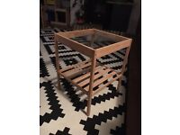IKEA wooden glass topped side table