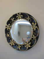 Mid Century Modern Round Mirror Metal Accents - Convex Watch|Sha