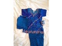 Blue tie-dye Shalwar Kameez