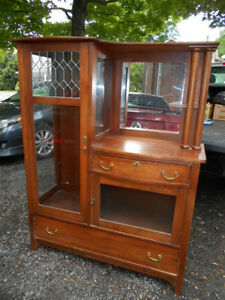Antique Side by Side China Cabinet with Buffet - REDUCED