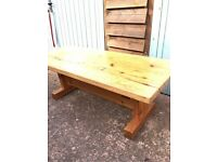 Old pine coffee table. Very solid, chunky, retro classic!