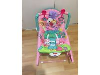 Fisher Price baby bouncer, sit, rocker with safety harness and music