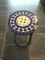 Concrete & Ceramic Tile Patio Side Table Flower Stand