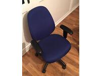 Blue computer chair.