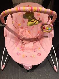 Baby girls pink bouncer