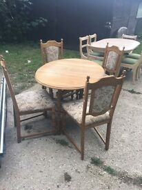 Vintage Oak Drop Leaf Table and 4 Chairs