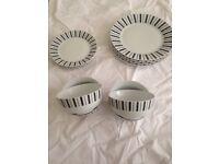 Plates & Bowls Set 4 settings Black & White Dinnerware Stripes Round