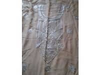 Beige skin colour nude embroidery unstitched asian suit dress pakistani indian 4 piece chiffon