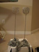 Wedding Decorations - Tall Candle Holders, Silver Curtain