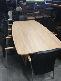 Boardroom table and verco leather chairs