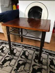 Metal and wood plant table