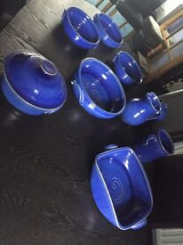 Blue Earthenware Serving Dishes
