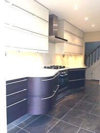 Super stylish Carma Cucine designer bespoke Italian kitchen in dark oak and cream gloss Veneer