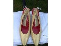 Charles Jourdan pale gold leather court shoes with slingbacks Size 7 1/2 B (USA size) Size 5