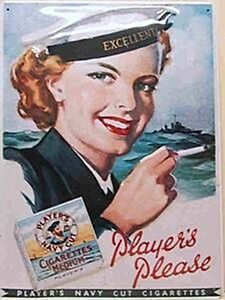 Players Please Female Sailor large embossed steel sign 40cm x 30cm (hi) REDUCED!
