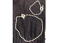 Silver Gucci Necklace & Bracelet