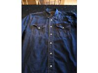 Wrangler Denim Shirt - Long Sleeve Popper Snap Buttons S