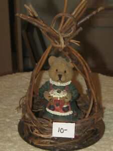 ADORABLE LITTLE 2-Pc.BEAR COLLECTIBLE in WOVEN REED BASE
