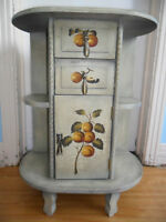 Hand painted antique night table with fruit motif