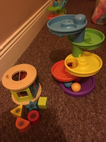 Shape sorter and little tikes ball drop